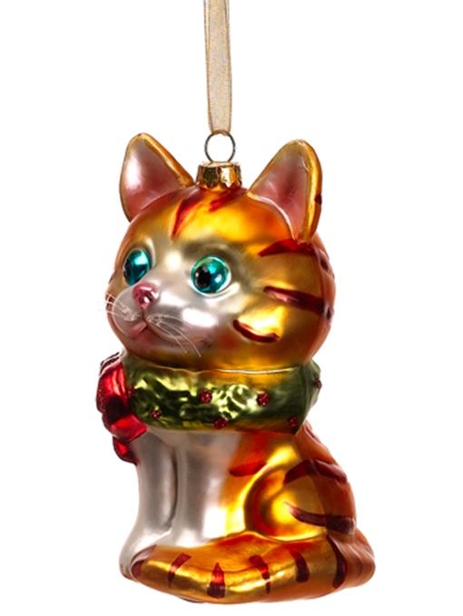 sitting tabby glass christmas ornament