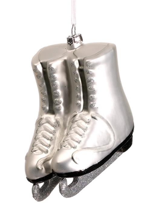 XGM780-WH-SI 3.25in Glass Ice Skates Ornament White Silver | Deizinz ...