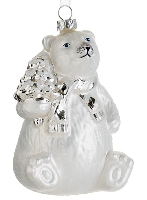 polar bear glass christmas ornament