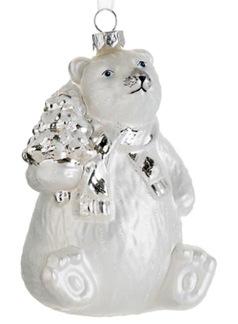 XGM787-WH-SI 4in Glass Polar Bear Ornament White Silver | Deizinz Blog