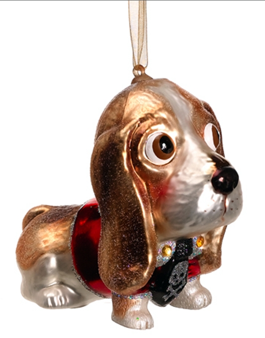 Blown Glass Dog Christmas Ornaments at Designer Silk Trees and ...