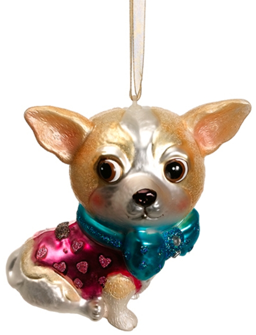 Christmas Tree Decorations For Dogs : Blown glass dog christmas ornaments at designer silk trees
